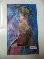 Cuban CUBA CHAMART Artist Charo Hand SIGNED Painting LADY BLUR SEXY TOP LESS 39
