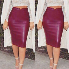 Sexy Women Ladies PU Leather Package Hip Slim Pencil High Waist Mini Short Skirt