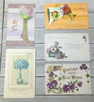 Lot Of 5 Vintage Floral Postcards Post Cards