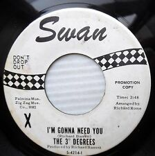 3 DEGREES popcorn soul WLP 45 swan I'M GONNA NEED YOU JUST RIGHT FOR LOVE e8895