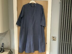 Muji women's 100% linen blue smock style dress size M