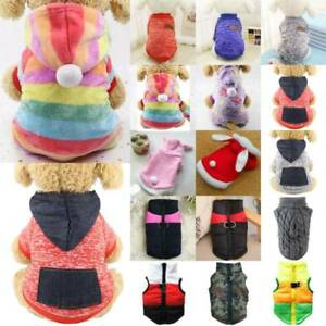 Pet Puppy Dog Cat Hoody Jumpers Knit Sweater Padded Clothes Jacket Coat Apparel