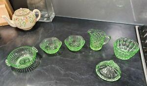 Depression glass green x6 individual items