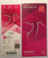 London 2012 billet Handball France Hommes Or 12 août 125 £ & Spectator Guide * Comme neuf *