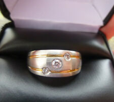Man's 14K White & Yellow Gold 10 mm Wedding Band 3 Diamonds .20 tcw Size 10.75