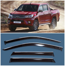 Chrome Trim Side Window Visors Guard Vent Deflectors Toyota Hilux 4d 2015-2017