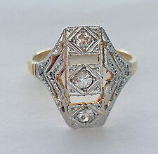 BEAUTIFUL VINTAGE ESTATE ART DECO 18K GOLD & 0.35CT DIAMONDS STYLISH  RING