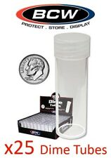 25 BCW Round Dime Coin Storage Tubes 18mm Clear Plastic Screw On Cap New Lot