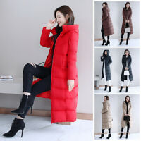 Women Quilted Long Sleeve Coat Padded Maxi Puffer Tops Hooded Parka Down Jacket