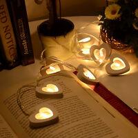 4X Warm White 10 Wooden Heart Led Battery Fairy String Light Xmas Wedding Decor