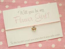 Will You Be My Flower Girl? Heart Charm Wish Friendship Bracelet & Envelope Pink