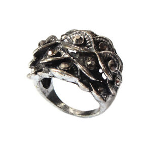 Edelstahl Ring Bl�ten mit Strass Modeschmuck Gr. 56 = 17,8 mm Silber