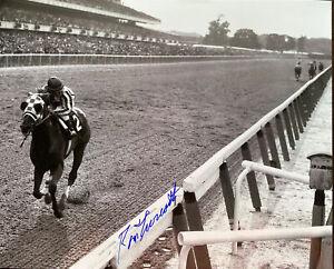 Secretariat signed Ron Turcotte autograph triple crown 1973 Belmont stakes 11x14