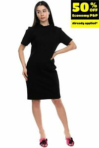 Y.A.S. Pencil Dress Size L Stretch Keyhole Back Elbow Sleeve Stand Up Collar