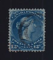 Canada Sc #28b (1868) 12&1/2c Deep Blue Large Queen on Thin Paper