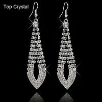 Fashion Women Rhinestone Crystal Jewelry Ear Hook Drop Dangle Wedding Earrings