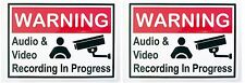 2 x Warning - Video & Audio Recording display decal placard Uber with velcros