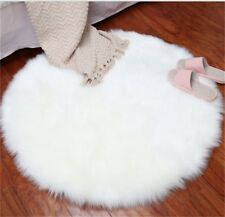 Round Pad Soft  Hairy Plain Skin Fur Plain Fluffy Area Rugs Carpet Mats Bedroom