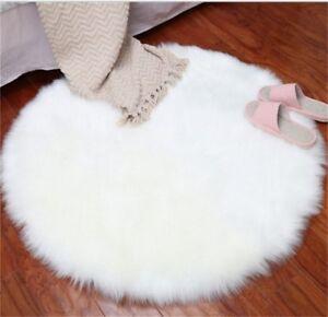 Round Pad Soft  Hairy Plain Skin Fur Plain Fluffy Area Rugs Carpet Mats Bedroom