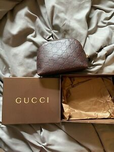 Vintage GUCCI GG Guccissima BROWN Leather Cosmetic Case Bag 141810 w/ OG BOX EUC