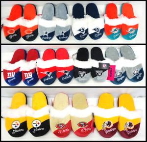 NFL Women's Colorblock Script Big Logo Fur Slippers House Shoes by FoCo F8
