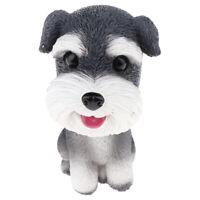 Resin Bobble Head Dog Schnauzer Figurine Toy Home Car Dashboard Decor