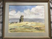 Original framed signed watercolour painting Devon Artist Michael Saunders
