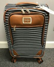"Jessica Simpson BEL AIR Black White Stripe 21"" Suitcase Travel Luggage Carry On"