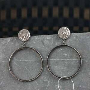 Victorian Pave Diamond 925 Sterling Silver Jewelry Handmade Drop Dangle Earring