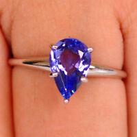 1,20Ct 100% natürliche blaue Tansanit Birne Form 585er Weißgold Verlobungsring