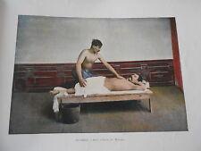 Caucase Asie - Photochromie Bains à Tiflis Le Massage Gravure fin 19ème