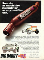 1971 Print Ad of Big Daddy Muffler Hot Rod and Chevrolet Chevy Camaro