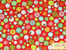 Ho-Ho-Ho-Ho Let it Snow Melted Snowman R Benartex Christmas Fabric by the 1/2 Yd