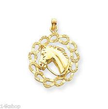 14K Gold Horse head horseshoes Charm Pendant 4.2 animal