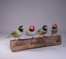 Gouldian Finches Original Bird Carving/Birdhug