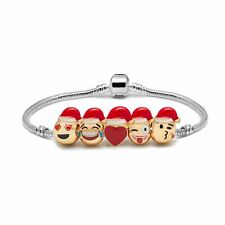 Santa Hats Emoji Charm Bracelet - 18K Yellow Gold Plated Beads - 5 Charms