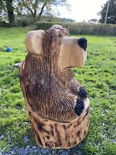 Chainsaw Carvings Bear In Stump Wood Carved Bear Carvings Bears Garden
