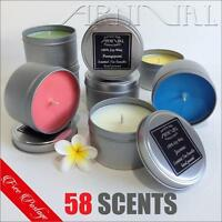 HIGHLY SCENTED 100% NATURAL SOY WAX CANDLE IN TIN 43hr burn time TRAVEL CANDLES