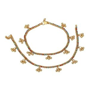 Indian Gold Plated CZ Multi Stone Payal Anklet Bollywood Designer  Women Jewelry