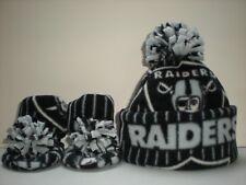 RAIDERS BABY HAT HANDCRAFTED newborn BEANIE & BOOTIES FLEECE SET NFL OAKLAND