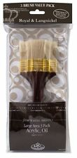 Royal Langnickel ampie zone Flat Brush Set Bianco A PENNELLO DA BARBA 3 Spazzole: SET-9355