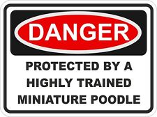 Dog Breed MINIATURE POODLE Danger Sticker Pet for Bumper Locker Car Door