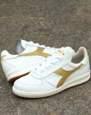 Diadora Borg Elite Trainers in White & Gold premium leather, Made in Italy, ltd
