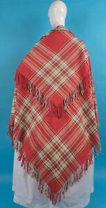 BEAUTIFUL RED TARTAN CIVIL WAR ERA FINE WOOL SHAWL W FRINGE FOR DRESS