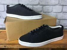 FRED PERRY MENS UK 7 EU 41 CANVAS NAVY BLUE TRAINERS PLIMSOLLS