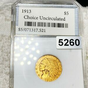 1913 $5 indian head half eagle gold coin uncirculated condition