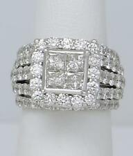 14k Oro Blanco 4.00 Ct Redondo Diamante Talla Princesa Halo Ancho