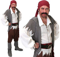 MENS CARIBBEAN PIRATE COSTUME ADULT CAPTAIN FANCY DRESS COSTUME BOOK OUTFIT