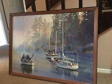 "Kiff Holland Framed Fine Art Print Watercolor Serenity 43""X32"" Boat water Scene"