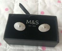 M&S Oval Spiral Textured Cufflinks Boxed BNIB silver In Colour Cuff Links NEW